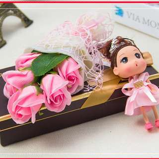 Pink Soap Roses BQ with Adorable Lady Key Chain In Gift Box.