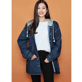 HOTPING Hooded Long-Sleeved Denim Jacket