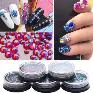 3D Nail Art Rhinestones Glitter Crystal Tips Decoration Manicure Wheel Beads