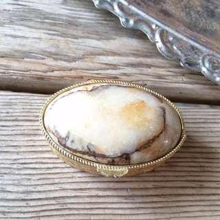 Skin&Moss歐洲復古古董vintage橢圓形淺棕大理石飾品收藏盒
