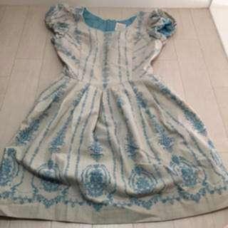 保證正品日牌Secret Honey質感‧格紋刺繡宮廷風水藍洋裝