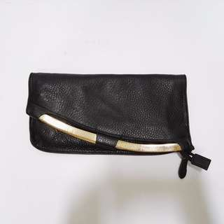 Non-branded Leather Clutch with Gold Hardware: ON SALE