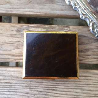 Skin&Moss歐洲復古古董vintage方形深咖啡木紋金屬飾品收藏盒