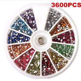 3600PCS Lots 1.5mm Rhinestones Glitter Nail Art Decoration 3D Tips Gem Wheel FT