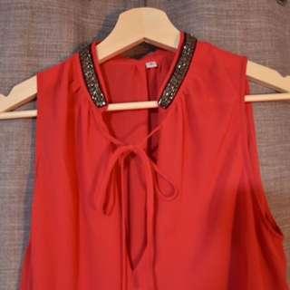 Hot Pink Ribbon Tie Blouse
