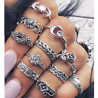 11Pcs/Set Vintage Silver Boho Midi Finger Knuckle Rings