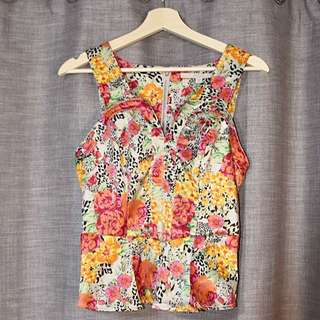 Guess Tropical Print Silk Peplum Top