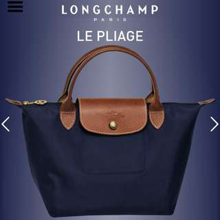 Longchamp Le Pliage Nylon 海軍藍 S號 手提包