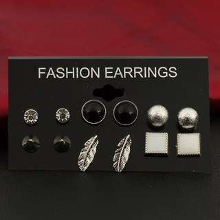 6 Pairs Various Shape Styles Ear Studs Earrings