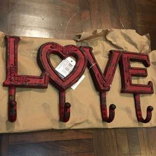 """Iron Rod Rustic Clothes Hanger """"LOVE"""""""
