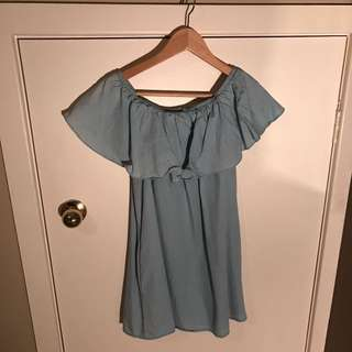 DENIM OFF THE SHOULDER DRESS