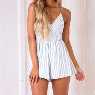 Stelly Blue/Green Striped Playsuit