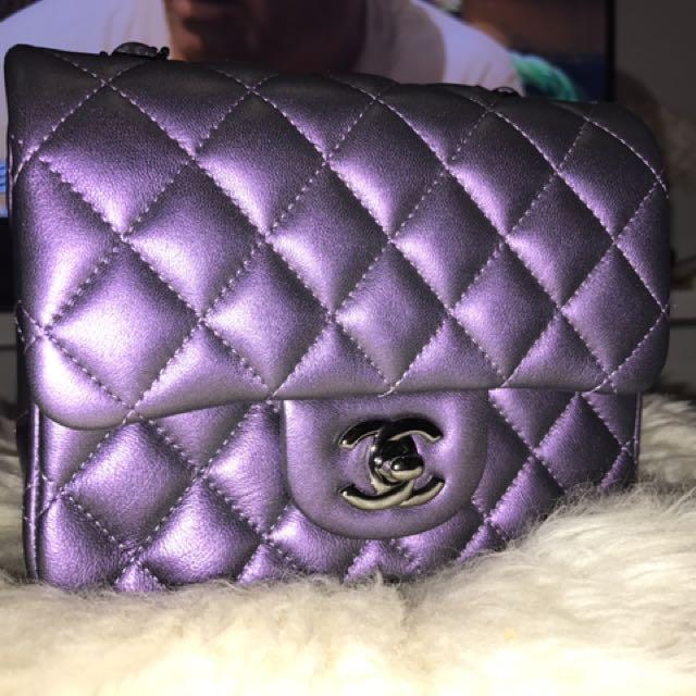 Authentic Chanel Mini Classic Flap bag (2017 Metallic purple)