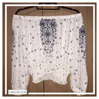 H&M White and navy blue printed straight across off-shoulder top