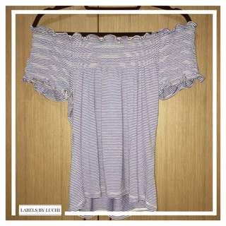 Blue and white striped straight across off-shoulder top