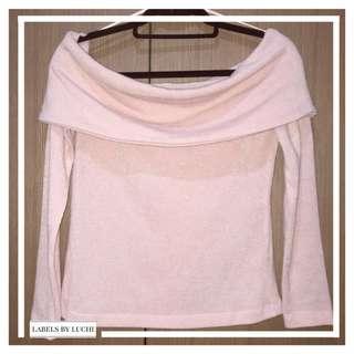 ZARA Baby pink straight across wool off-shoulder top