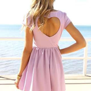 Sabo Skirt Heart Cut Out Lilac Skater Dress