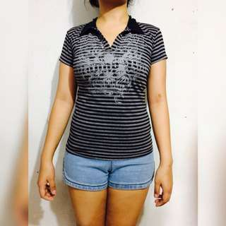 Striped Blouse (Black and Gray