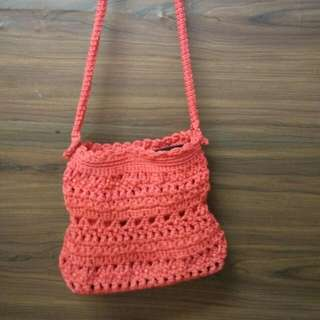 Crochet Red Sling Bag