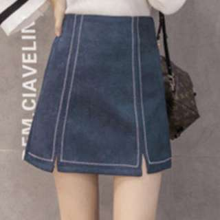 Navy blue suede A-line skirt