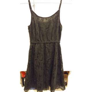 9成新 H&M 黑色 lace 吊帶裙 black lace dress