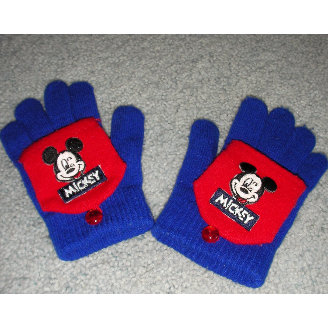 2 pairs kids gloves -   - Mickey mouse in blue/red  - green/black   good condition from a clean, tidy & non-smoking family