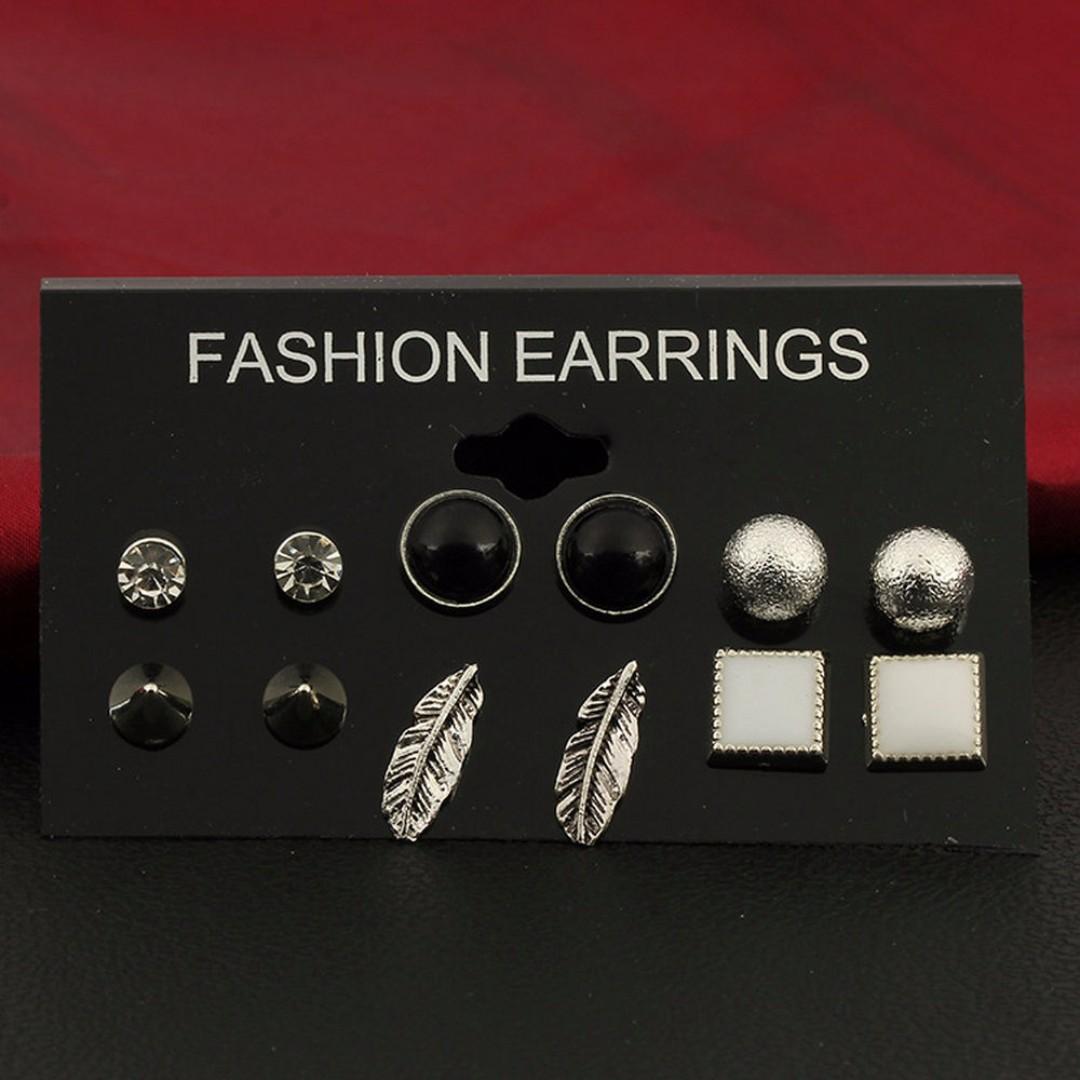 6 Pairs Various Shape Styles Ear Studs Earrings