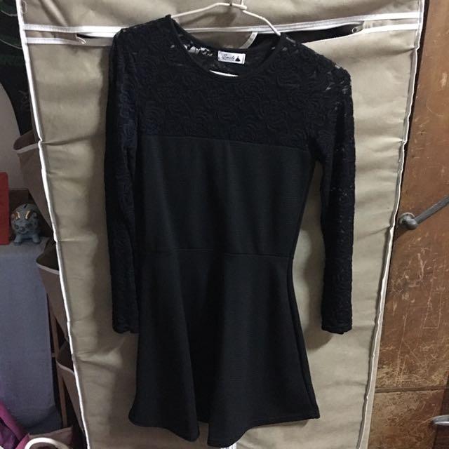 長袖蕾絲黑色洋裝 謝師宴可