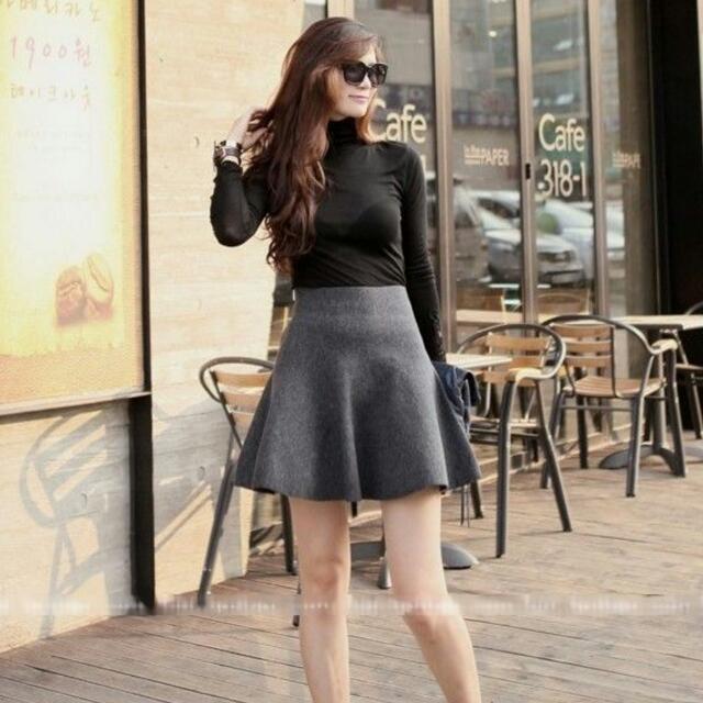 High Waisted Mini Skirt - Grey
