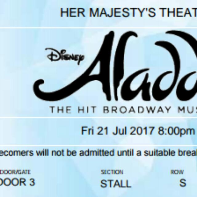 Aladdin The Musical Melbourne 1x Ticket 21 July 8 PM Her Majesty's Theatre Stall Row S Seat 40