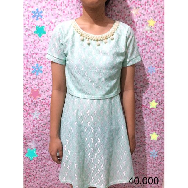 Biru Pastel Brukat Dress