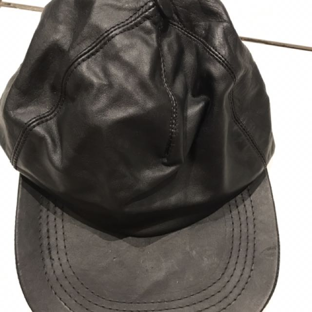 Black Genuine Leather Hat
