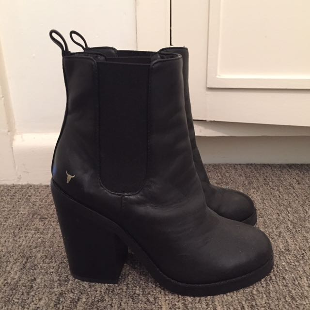 Black Leather Windsor Smith Boots