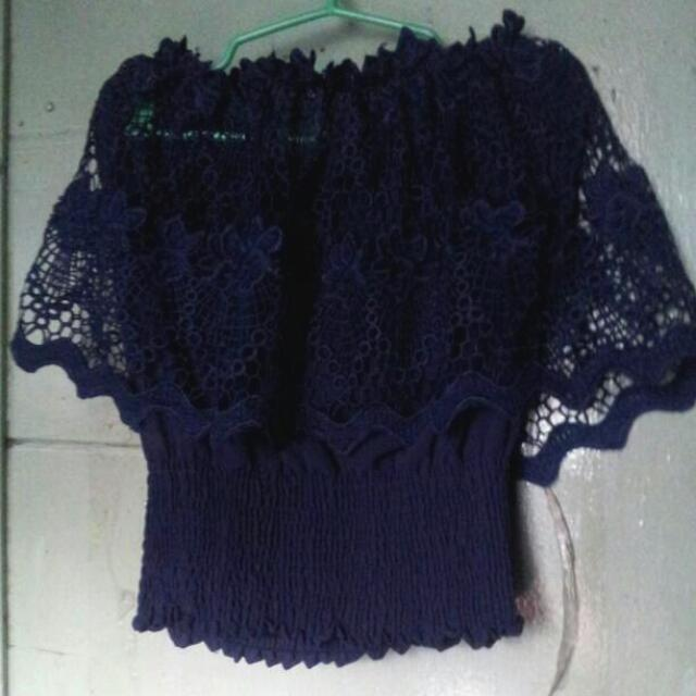 Blue Laced Off Shoulder