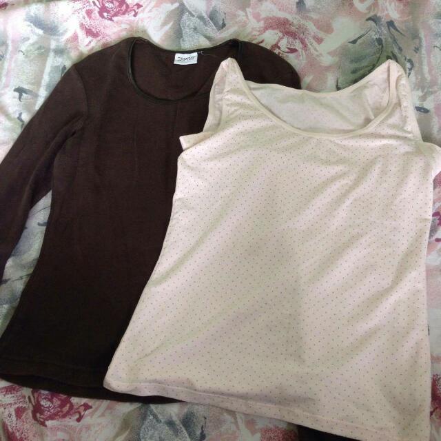 Brown Long sleeve And Polka Dots Sando