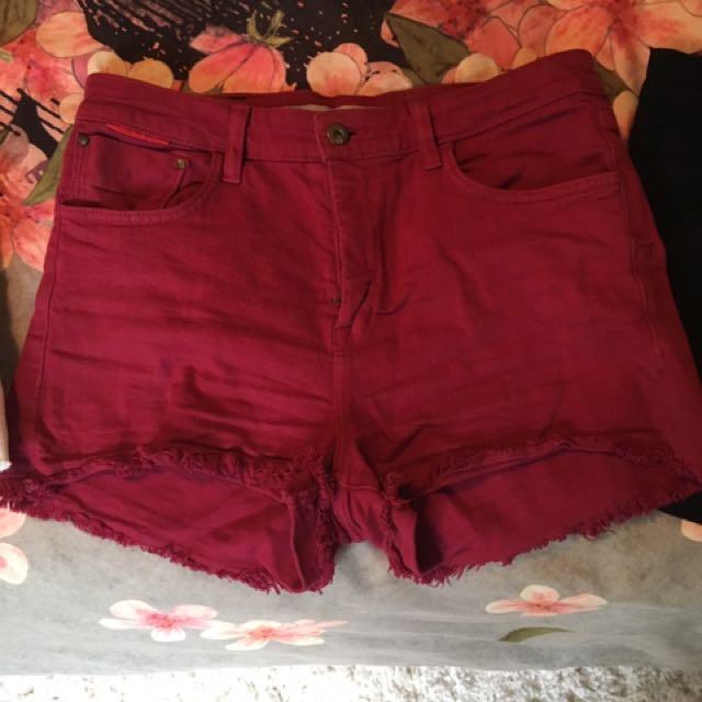 Burgundy Shorts Size 8