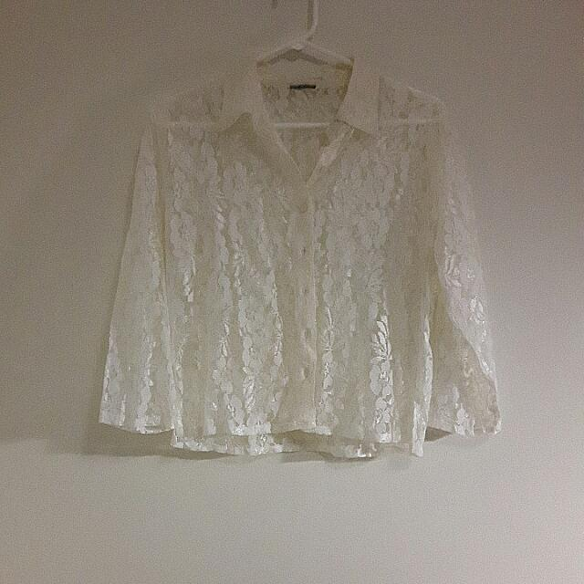 Button Up Half Sleeved Sheer Shirt