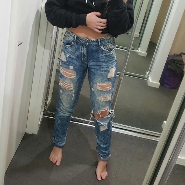 Distressed Ripped Denim Jeans