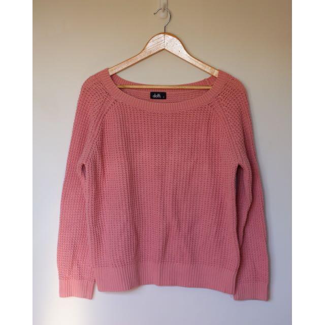 Dotti Size M Pink Knit Jumper