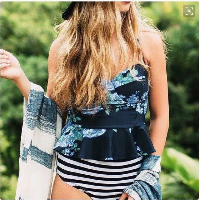 Floral reversible highwaist 2pcs swimming suits