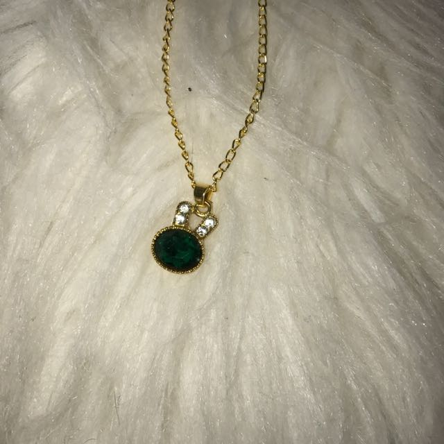 Gold Bunny Rabbit Necklace With Green Gem