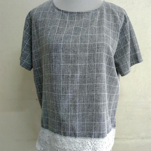 Gray Grid Top