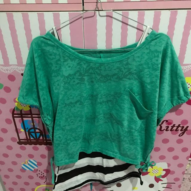 Green Outer And Strip Tanktop