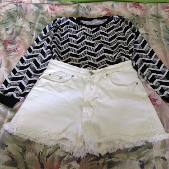 High Waist White Shirt With Black And White Long sleeve