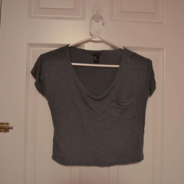 H&M Olive Green Cropped Shirt