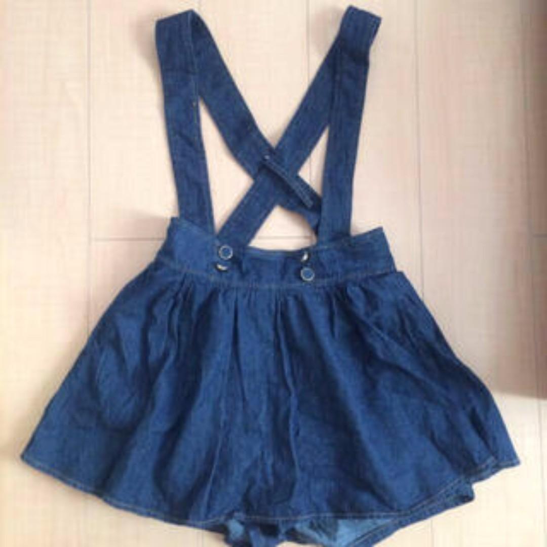 保證正品日牌INGNI牛仔可拆式吊帶褲裙