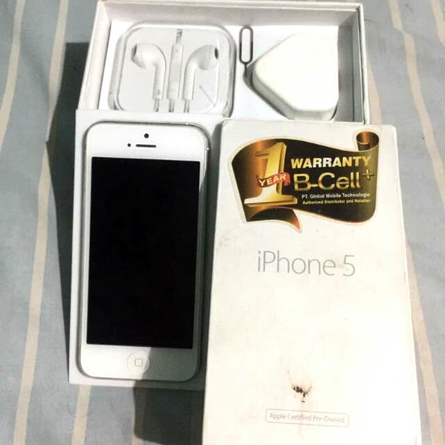 Iphone 5 16GB white Lengkap