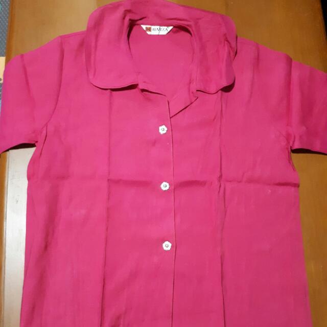 Kemeja Pink Kancing Bunga