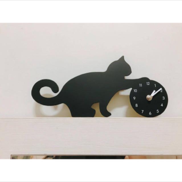 日本MAKINOU貓咪剪影玩球造型鐘』台灣製 掛鐘壁鐘