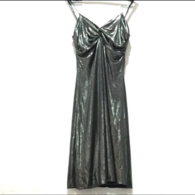 MANGO Metallic Evening Dress